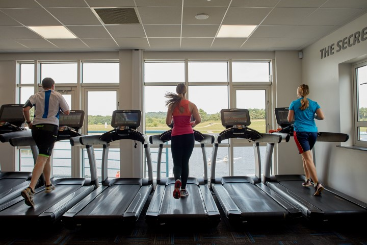 Treadmills overlooking lake